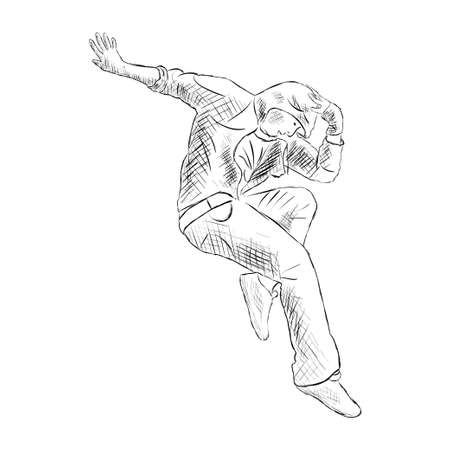 hip hop silhouette: Hip-hop man dancer vector sketch isolated on white background Illustration