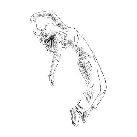Hip-hop woman dancer vector sketch isolated on white background Vectores