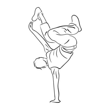 Hip-hop man dancer vector contour sketch isolated on white background