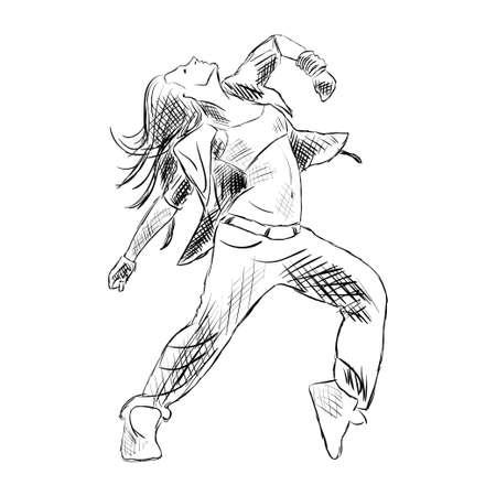 Hip-hop ballerino di donna disegno vettoriale isolato su sfondo bianco
