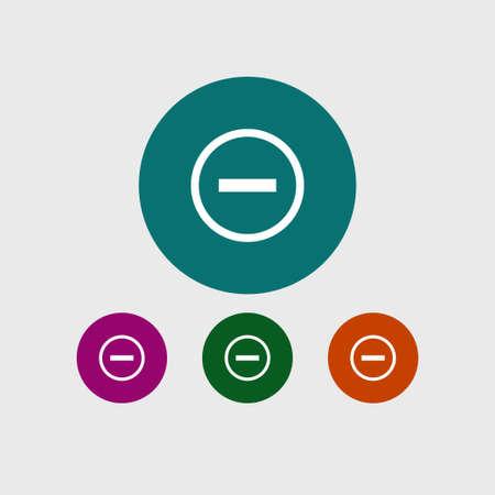 Minus icon simple negative sign vector remove  illustration