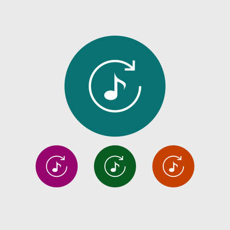 Music note icon simple repeat sign vector illustration