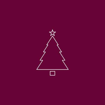 Christmas tree icon outline vector illustration Illustration