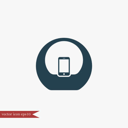 fidelity: Audio sistem icon simple speaker sign vector doc station illustration