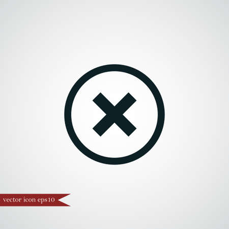 Cross mark icon simple delete sign vector blocking  illustration