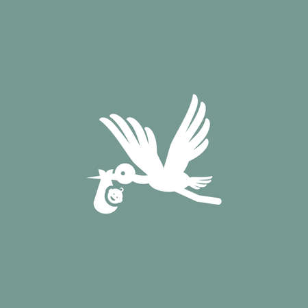 Baby and stork icon simple child sign kid  illustration