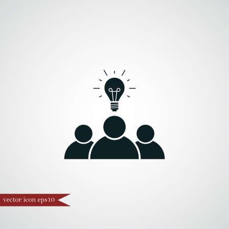 business team: Teamwork icon simple creative sign vector idea symbol bulb illustration Illustration