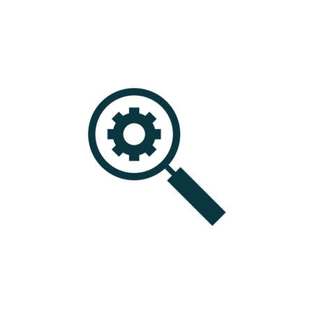 Magnifier with gear icon simple search sign vector illustration