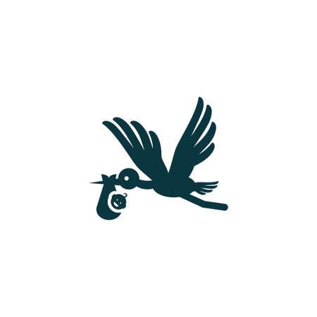 Bébé et cigogne icône enfant simple signe vecteur kid illustration Banque d'images - 84074118