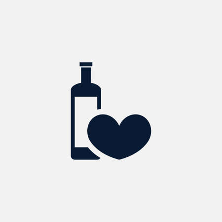 wedding couple: Heart with wine icon simple love sign vector illustration. Illustration