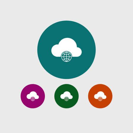 art processing: Cloud computing icon simple globe sign vector illustration
