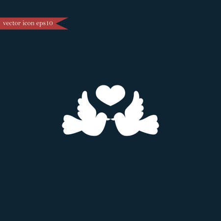 wedding couple: Dove with heart icon simple love sign vector illustration