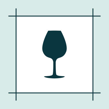 champagne celebration: Wine glass icon simple party sign vector drink illustration
