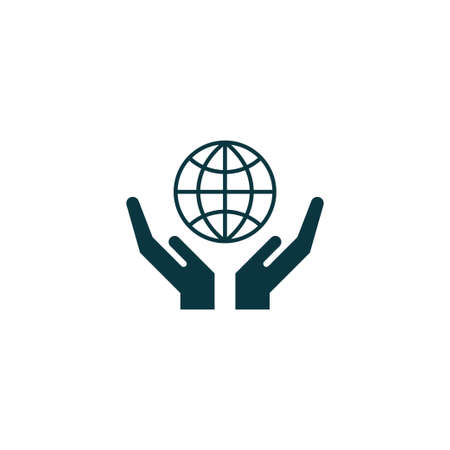 hand holding globe: Globe on hand icon simple ecology sign vector illustration