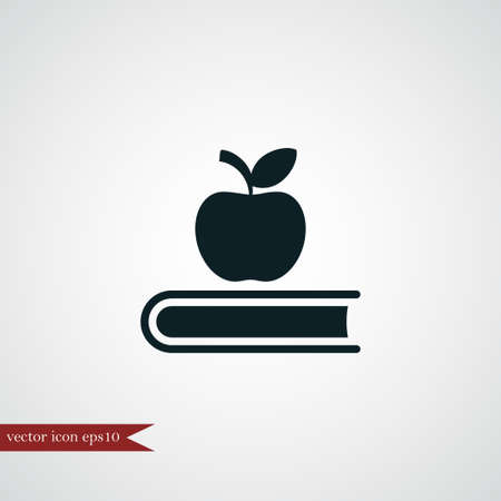 Book Icon Simple Education Sign Vector Read Illustration Apple