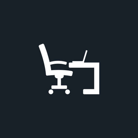 Workplace icon simple business sign vector furniture illustration Vectores