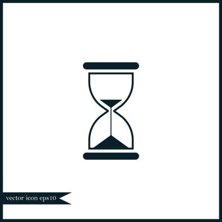 sand watch: Hourglass icon simple sand clock sign vector illustration