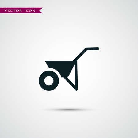 peasant: Weelbarrow icon simple gardening illustration tool vector sign