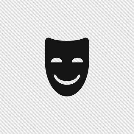 Happy mask icon simple emotion sign vector drama illustration