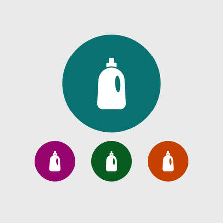 laundry care symbol: Cleaning bottle icon simple housework sign vector illustration