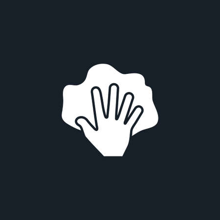 Hand with rag icon simple cleaning sign vector illustration 일러스트