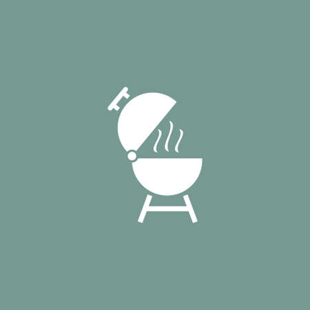 Grill icon, simple camping vector illustration sign.