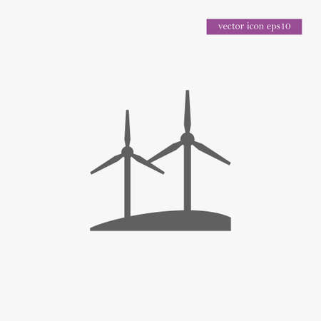 Windmill icon, simple ecology sign vector illustration.