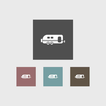 Trailer icon simple camping vector illustration sign set