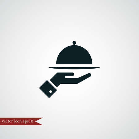 Meal tray on hand icon simple sign vector illustration