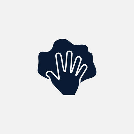 Hand with rag icon simple cleaning sign vector illustration Çizim