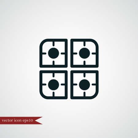 Gasbrander pictogram eenvoudig koken vector illustratie teken