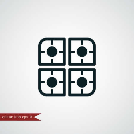 Segno coocking semplice dell'illustrazione di vettore dell'icona del bruciatore a gas