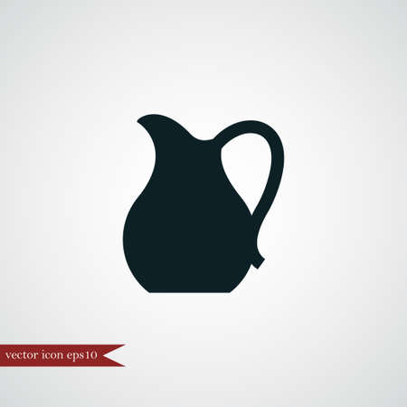Jarra, icono, simple, coocking, vector, ilustración, leche, señal