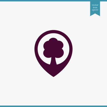 Tree location icon simple ecology vector eco illustration sign Banque d'images - 106496764