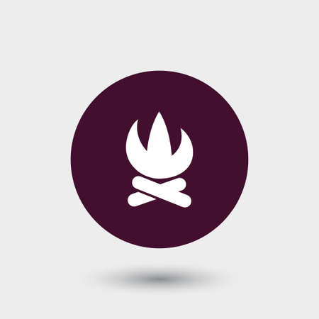 Camp fire bonfire icon simple firewood vector illustration Çizim