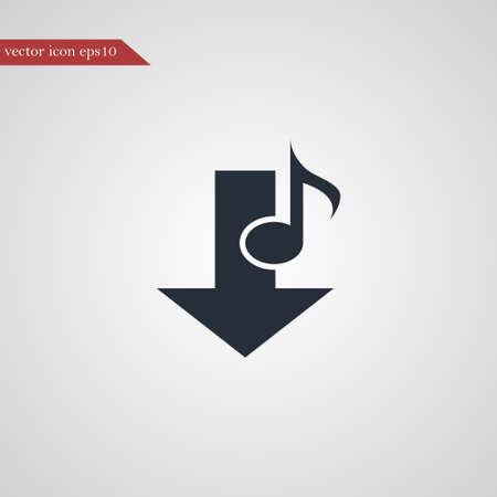 Music note icon simple download sign vector illustration Ilustração