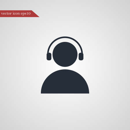User with headphone icon simple music sign vector illustration