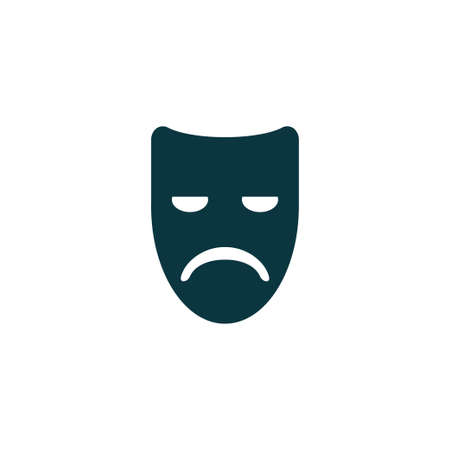 Sad mask icon simple emotion sign vector drama illustration