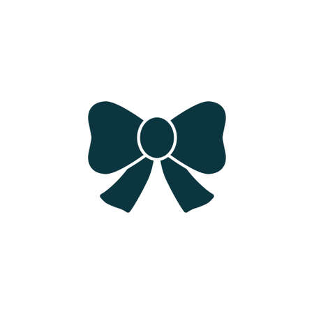 Bow icon simple present sign vector ribbon illustration