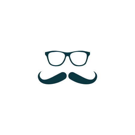 Mustache icon simple barber sign vector party illustration