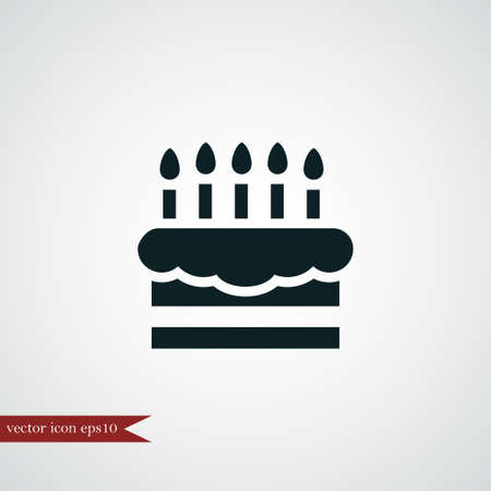 Cake icon simple food sign vector party illustration