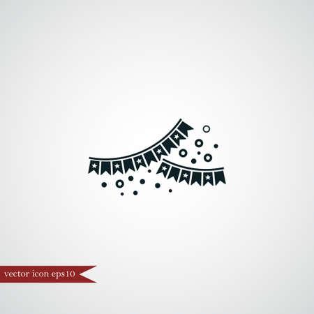 Garland flag icon simple party sign vector event illustration Ilustração