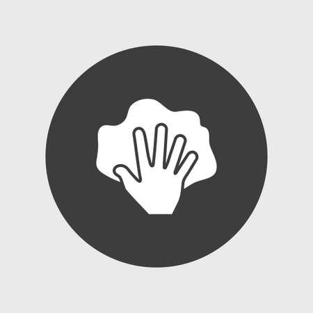 Main avec chiffon icône simple signe de nettoyage illustration vectorielle Vecteurs