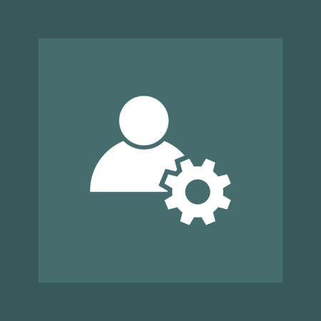 User with gear icon simple vector sign business illustration