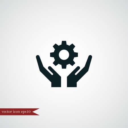 Engranaje en mano icono simple equipo signo ilustración vectorial