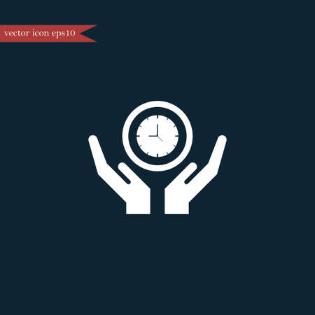 Clock icon time simple on hand vector illustration