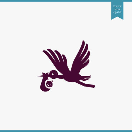 Baby and stork icon simple child sign vector kid  illustration Ilustração