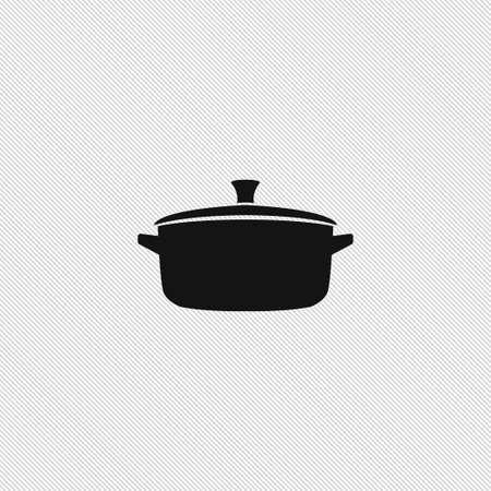 Illustrazione di cottura semplice dell'alimento di vettore del segno dell'icona della pentola
