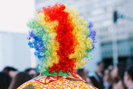 Person in a rainbow colored wig celebrating gay pride from behind Foto de archivo