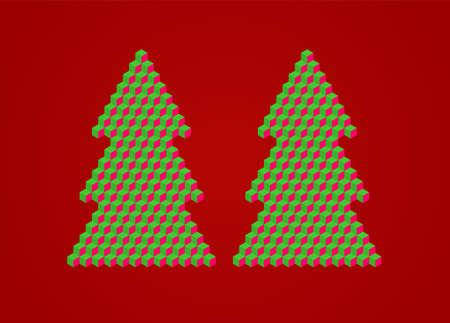 ice brick: Christmas tree illustration made of cubes.